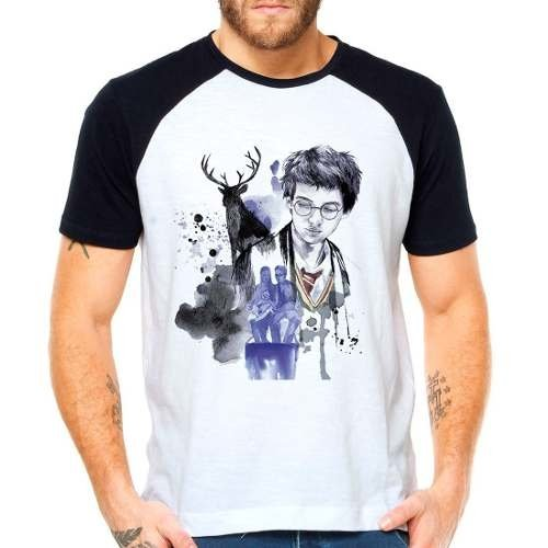 Camiseta Harry Potter Marotos Tiago James Raglan Manga Curta