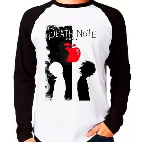 Camiseta Anime Death Note V02 Raglan Manga Longa