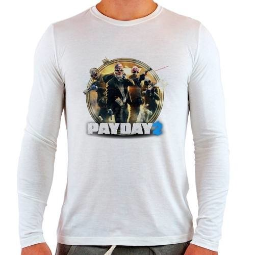 Camiseta Branca Longa Pay Day 2 Payday2
