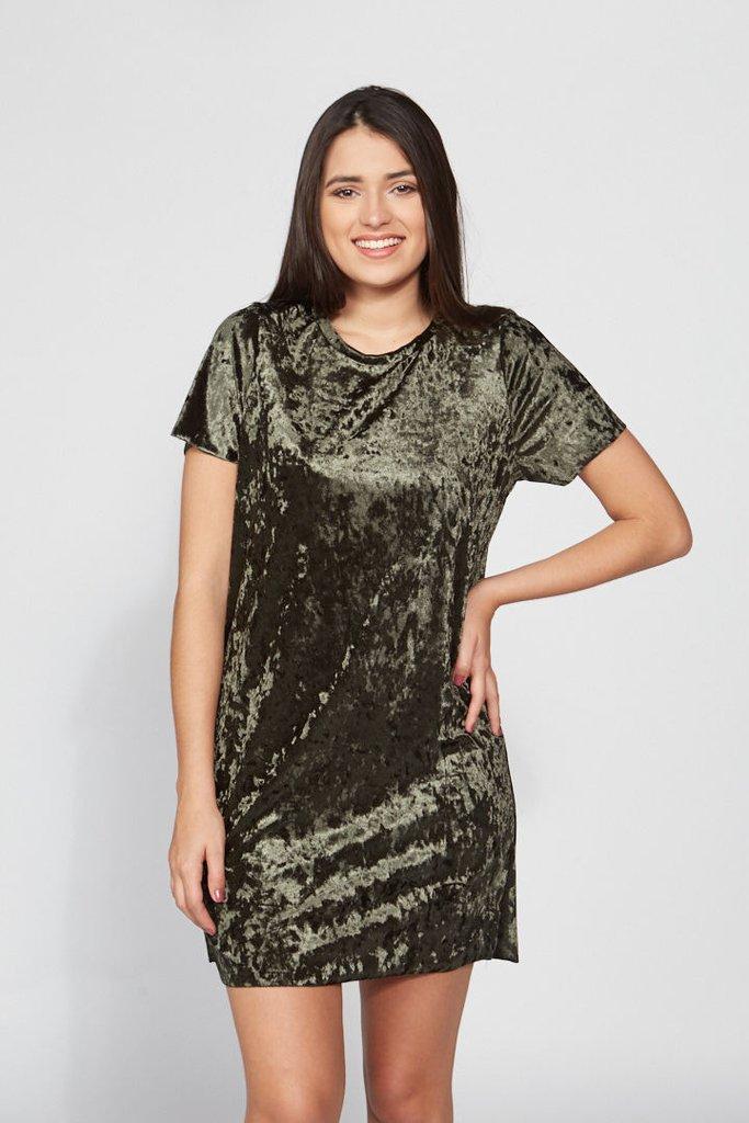 Vestido Camisetão Veludo Verde