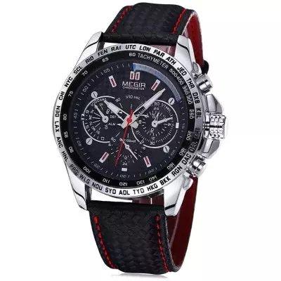 Relógio Masculino Megir Quartzo com Pulseira de Couro Genuíno M1010 - Preto bc2703641a