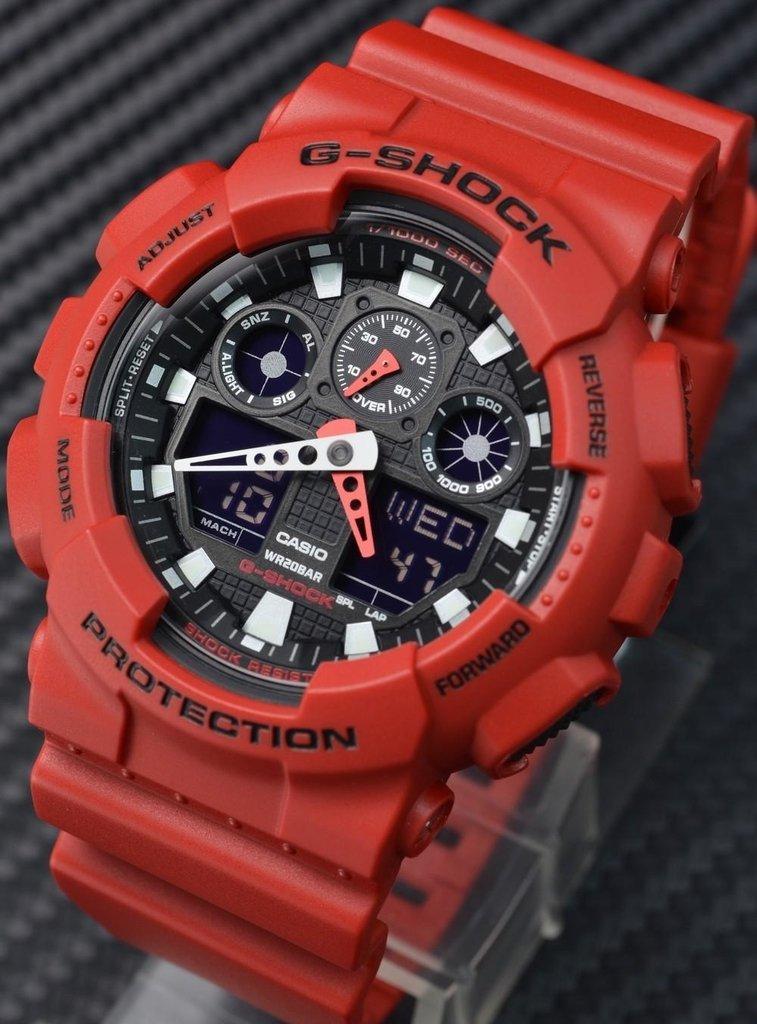 1c15c675854 Relógio Casio G-shock Ga-100 Vermelho + Preto Primeira Linha