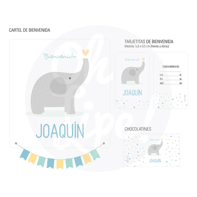 Kit Nacimiento con chocolates -Elefante-