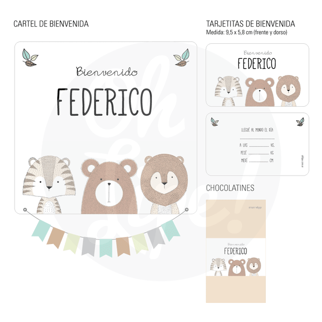 Kit Nacimiento con chocolates -Woods-