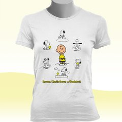 CAMISETA BABY LOOK DO SN00PY, CHARLIE BR0WN & W00DST0CK na internet
