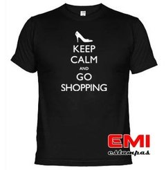 Camiseta Engraçada Keep Calm And Go Shopping 1708 na internet