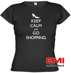 Camiseta Engraçada Keep Calm And Go Shopping 1708