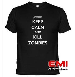 Camiseta Engraçada Keep Calm And Matar Zumbis 1900