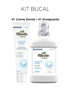 Creme Dental e Enxaguante Bucal Marita Stévia Sensitive White