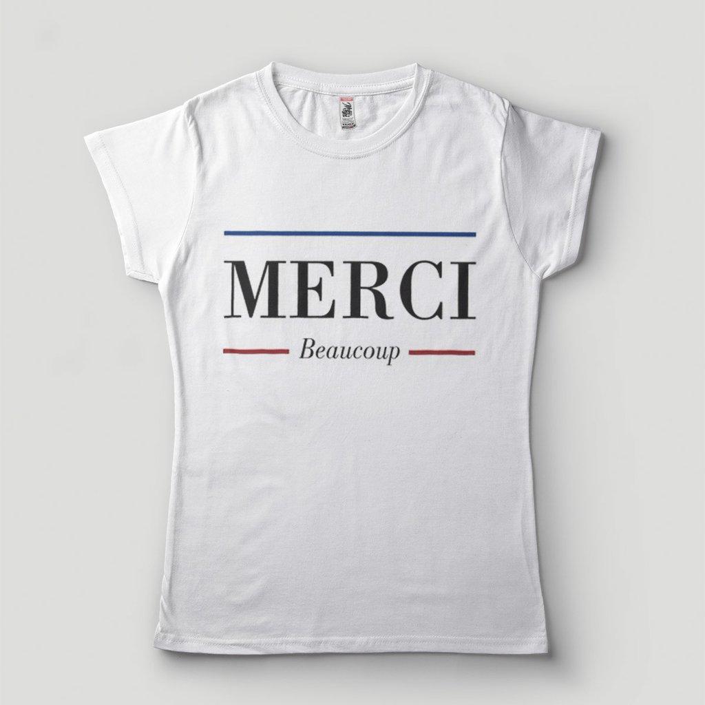 Blusa Feminina Francês Merci Beaucoup Paris Camiseta 8d49b417a4613
