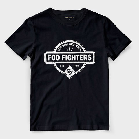 Camiseta Foo Fighters Masculina Preta Rock n Roll