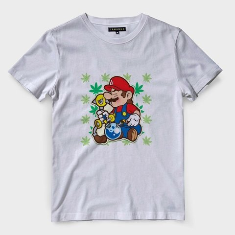 camiseta mario bross maconha chronic camisa gamer swag
