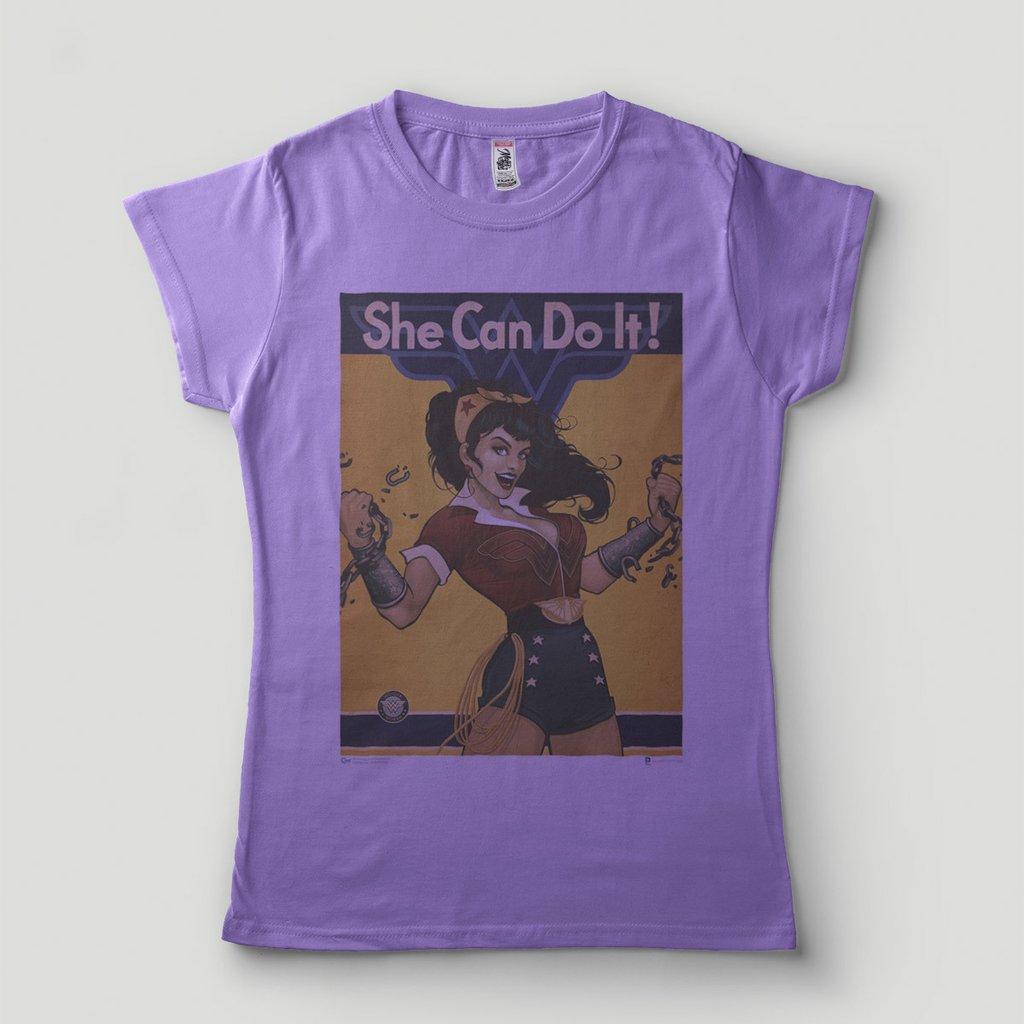 3a37e20c6 ... Camiseta Mulher Maravilha Feminista Blusa Feminina She can do it -  LOJADACAMISA ...