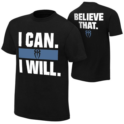 Camiseta Roman Reigns Empire I Can I Will Preta Algodao