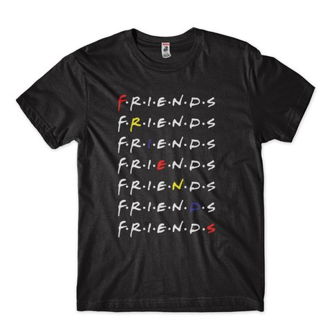 camiseta friends preta camisa series colorida
