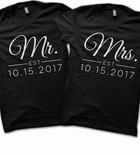 kit 2 camisetas despedida de solteira chabar casamento mr mrs