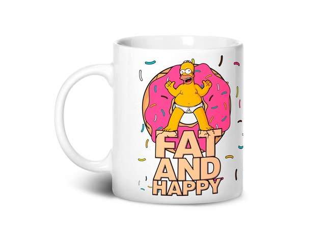 Caneca Fat and Happy | Homer Simpsons - comprar online