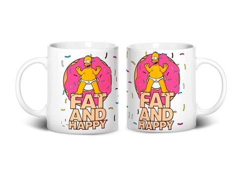 Caneca Fat and Happy | Homer Simpsons