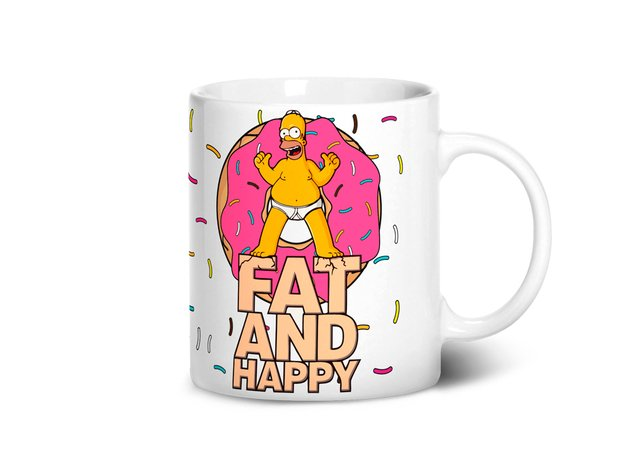 Caneca Fat and Happy | Homer Simpsons na internet