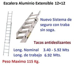 Escalera Aluminio Extensible Ecoline 12+12 Long 3.40/5.92mts