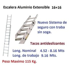 Escalera Aluminio Extensible Ecoline 16+16 Long 4.52/8.16mts