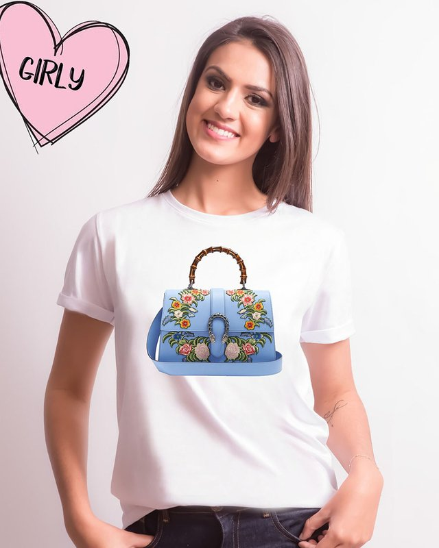 Camiseta Bag Gucci Azul