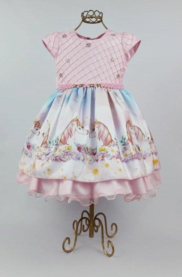 7bba790fc Vestido de festa infantil unicórnio - Xuxuzinhos Baby