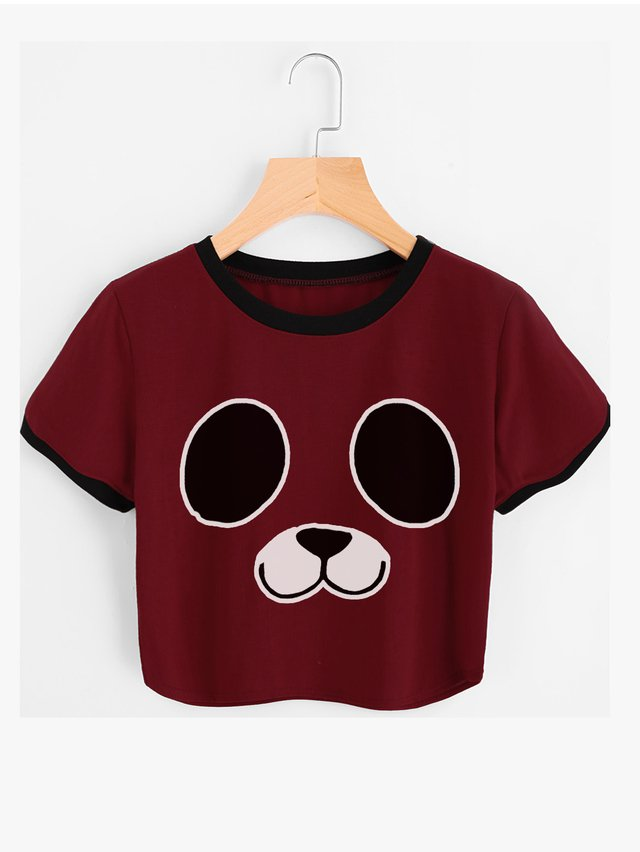 Camiseta crop top pandita en internet