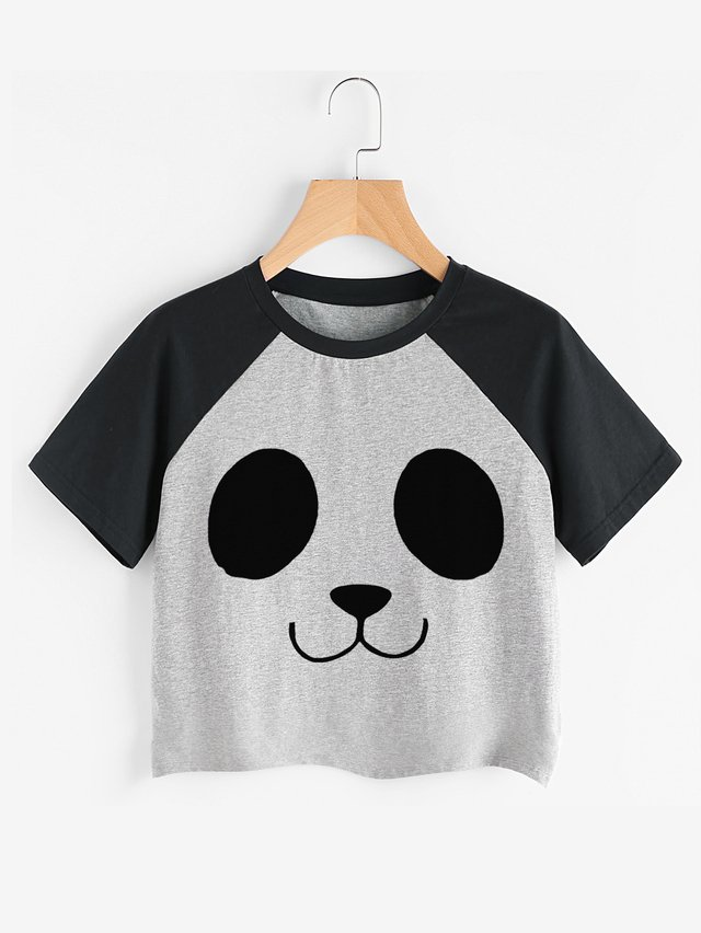 Camiseta crop top pandita - Jako Fashion