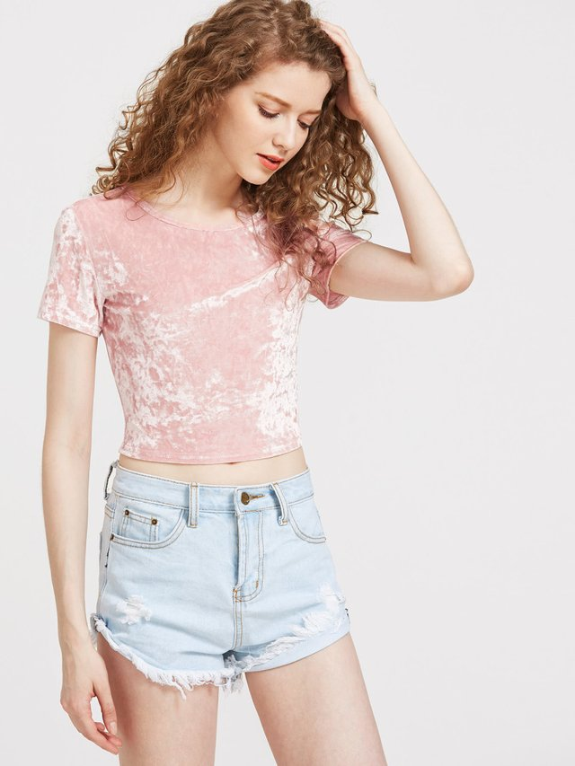 Crop terciopelo cute cad