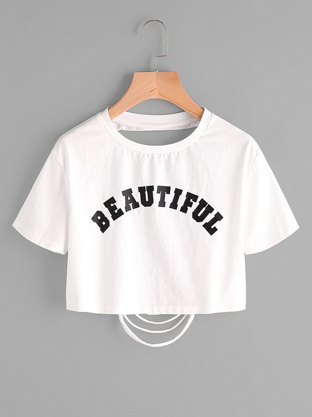 Camiseta beautiful rasgada atras