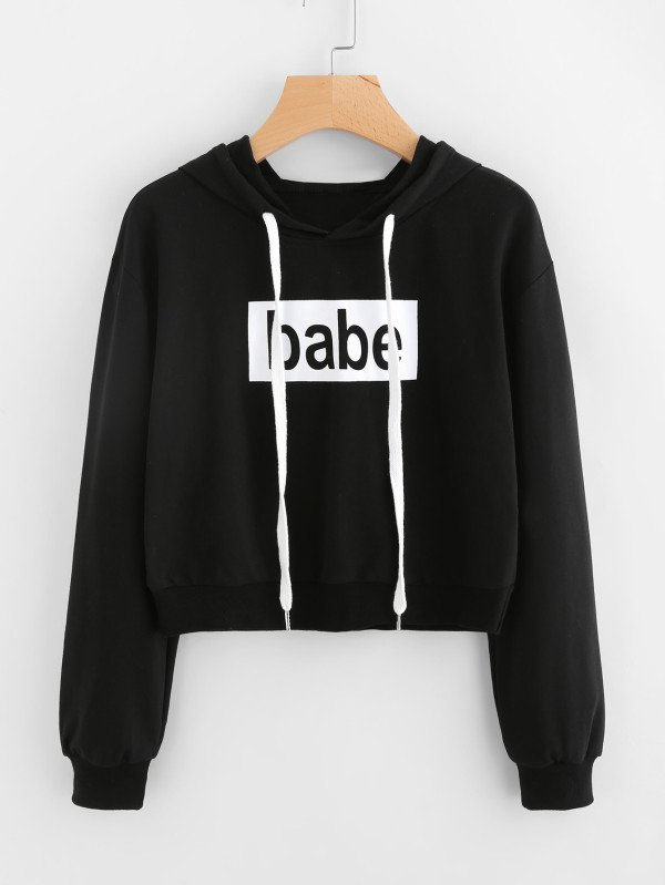 Buzo crop negro babe cute