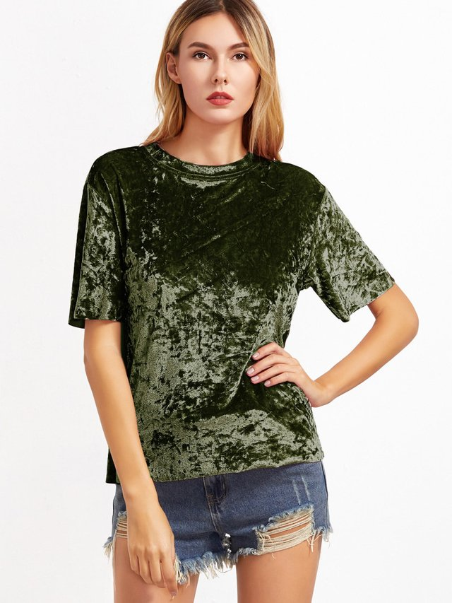 Camiseta larga terciopelo fashion - comprar online
