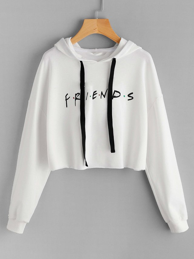 Buzo blanco crop top friends
