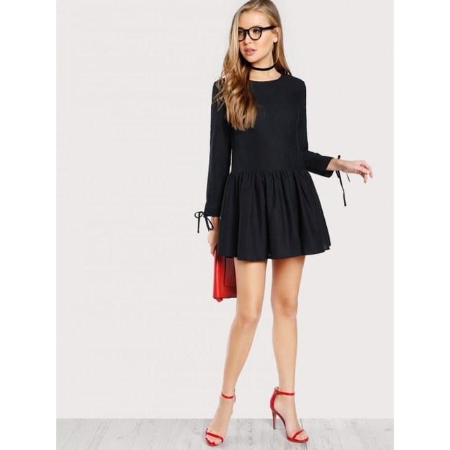 Vestido negro corto fashion pleg - Jako Fashion