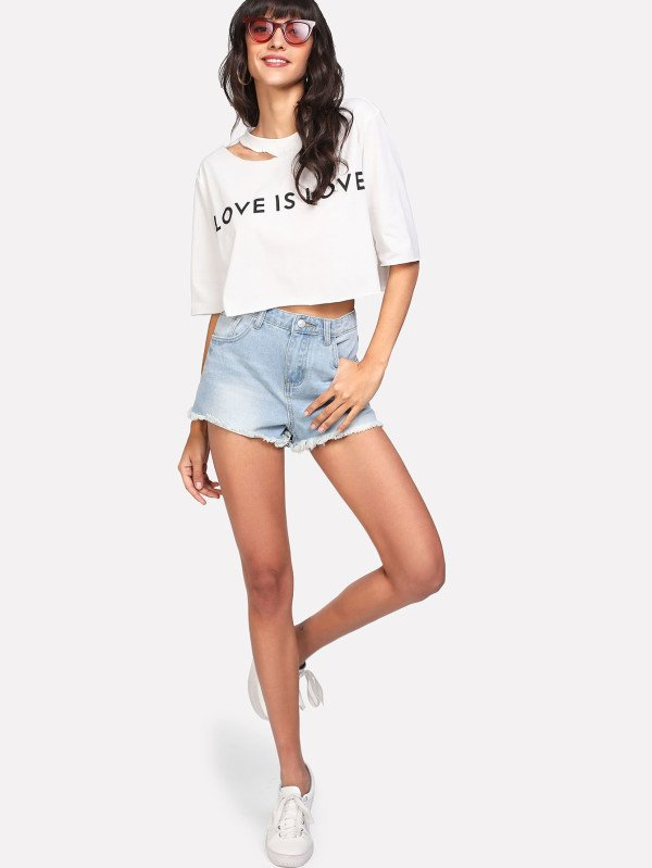 Camiseta crop manga 3/4 love is en internet