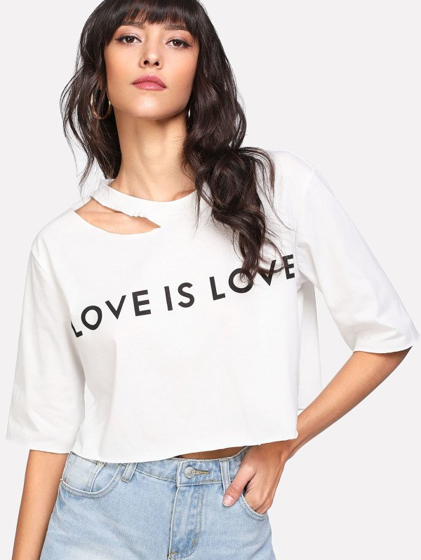 Camiseta crop manga 3/4 love is