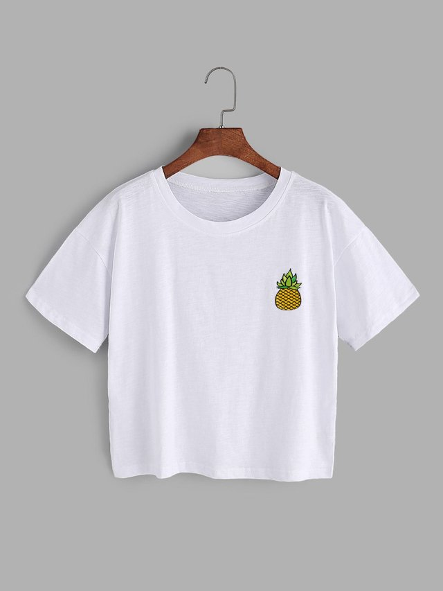 Camiseta crop top piña cute