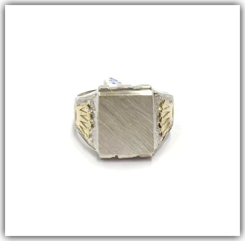 c3ff8212f04d Anillo Plata Y Oro Hombre Sello Para Grabar