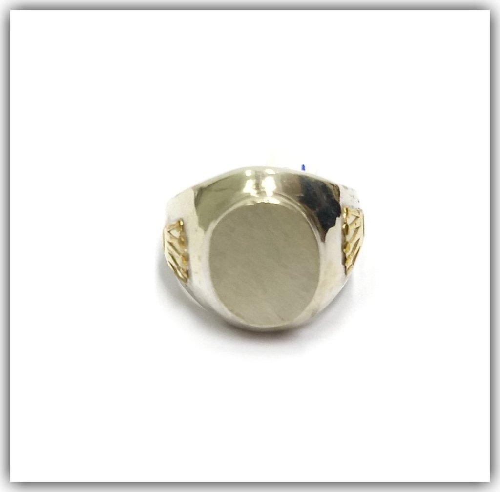 07361ff9656c Anillo Plata y Oro Hombre Ovalado para Grabar