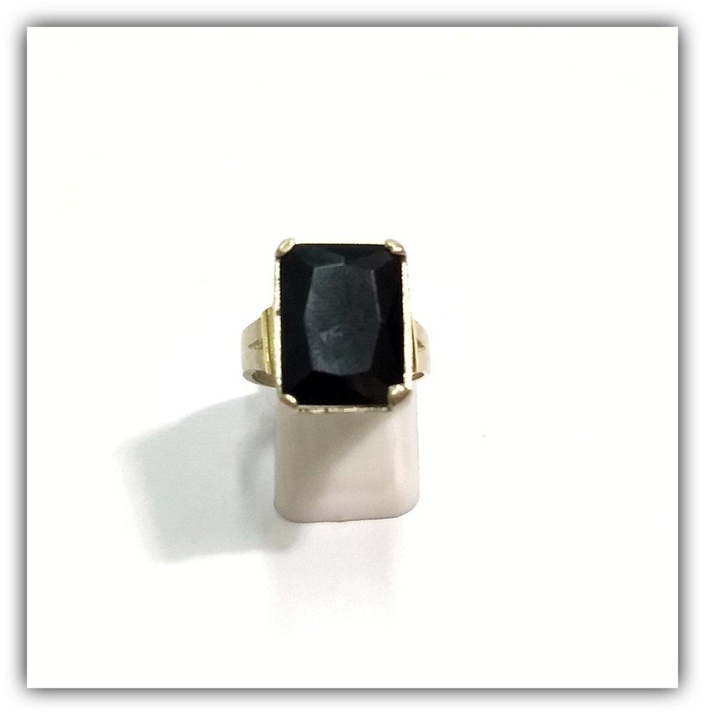 más baratas 07e96 07557 Anillo Plata y Oro con Piedra Negra Rectangular