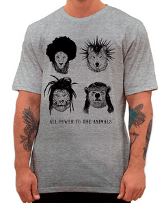 Camiseta Animals Power Cinza Mescla