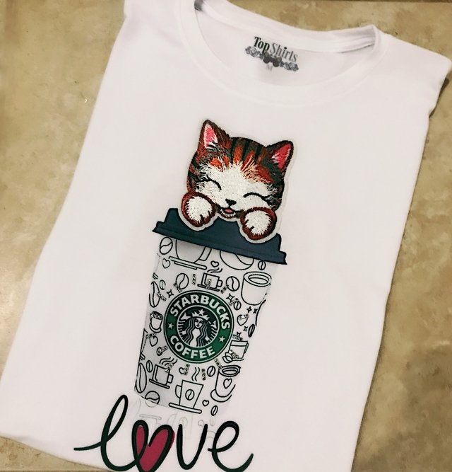 T-Shirt MOD 1073 GATO STAR PATCH LOVE - comprar online
