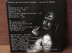GG Allin And The Criminal Quartet - Carnival Of Excess LP na internet