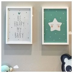 Set cuadrito infantil Estrella + be happy Aqua