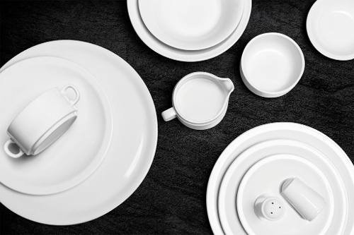 Set x6 taza te con plato porcelana blanca tsuji l nea 450 for Platos porcelana blanca
