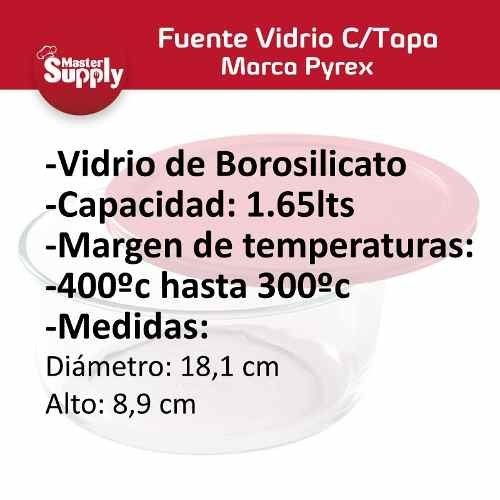 Set Fuentes De Vidrio Con Tapa Pyrex 950ml - 500cc - 1.65l - Master Supply