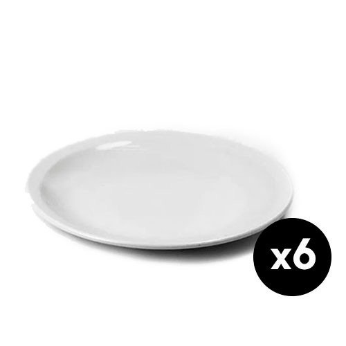 6 Platos Playos 25cm Porcelana Tsuji 450 Primera Sello