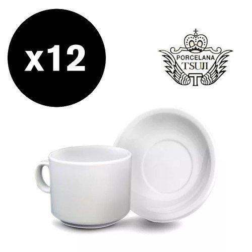 12 tazas desayuno cafe con leche y plato porcelana tsuji 450 for Capacidad taza cafe con leche
