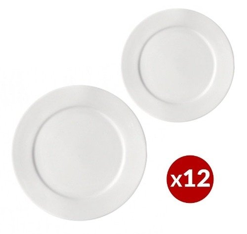 Set 12 Platos Postre + Playo 26cm Porcelana Ala Ancha